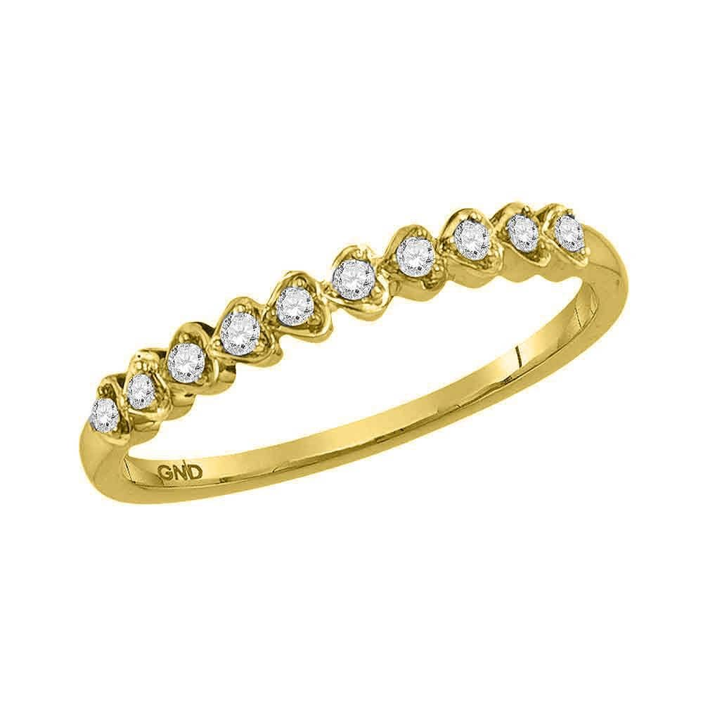 10kt Yellow Gold Womens Round Diamond Heart Stackable Band Ring 1/10 Cttw