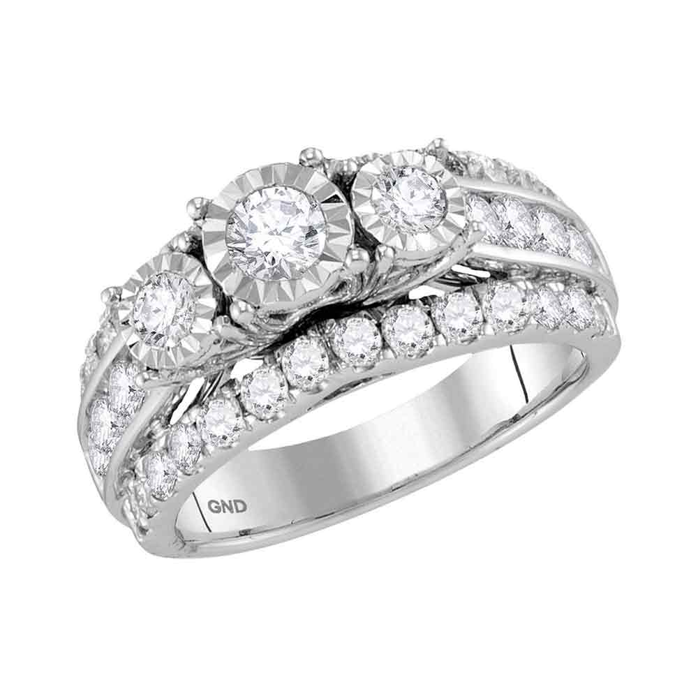 14kt White Gold Womens Round Diamond 3-Stone Bridal Wedding Engagement Ring Band Set 2.00 Cttw