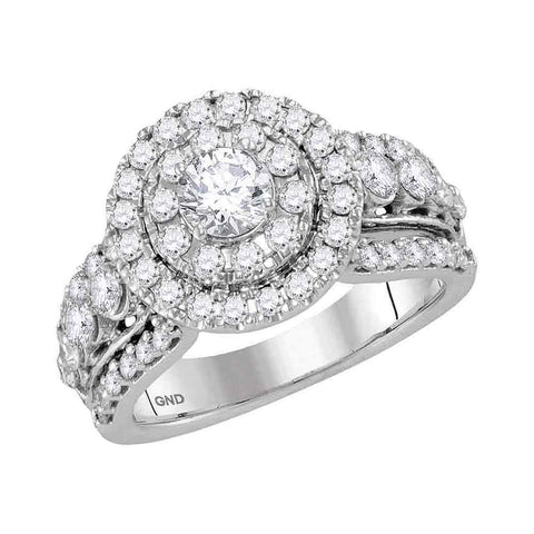 14kt White Gold Womens Round Diamond Solitaire Halo Bridal Wedding Engagement Ring 2.00 Cttw