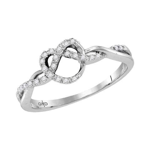 10kt White Gold Womens Round Diamond Heart Pretzel Ring 1/8 Cttw