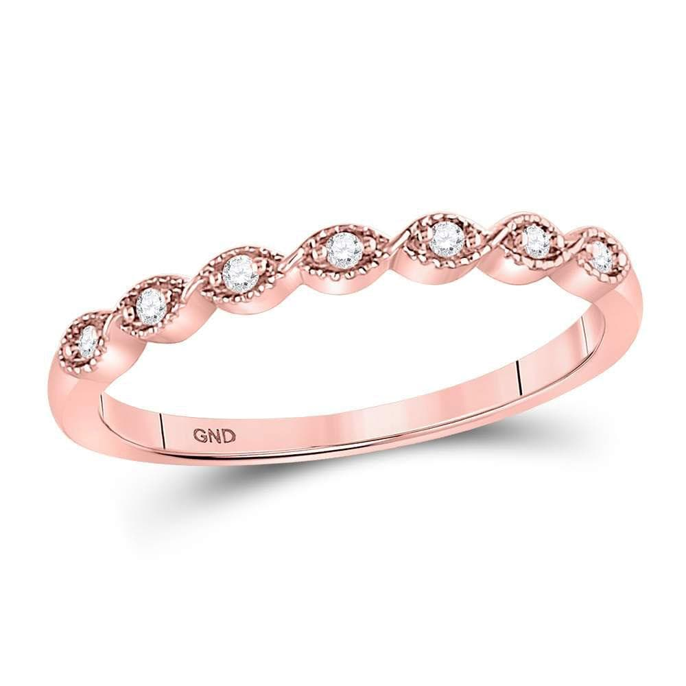 14kt Rose Gold Womens Round Diamond Stackable Band Ring 1/20 Cttw