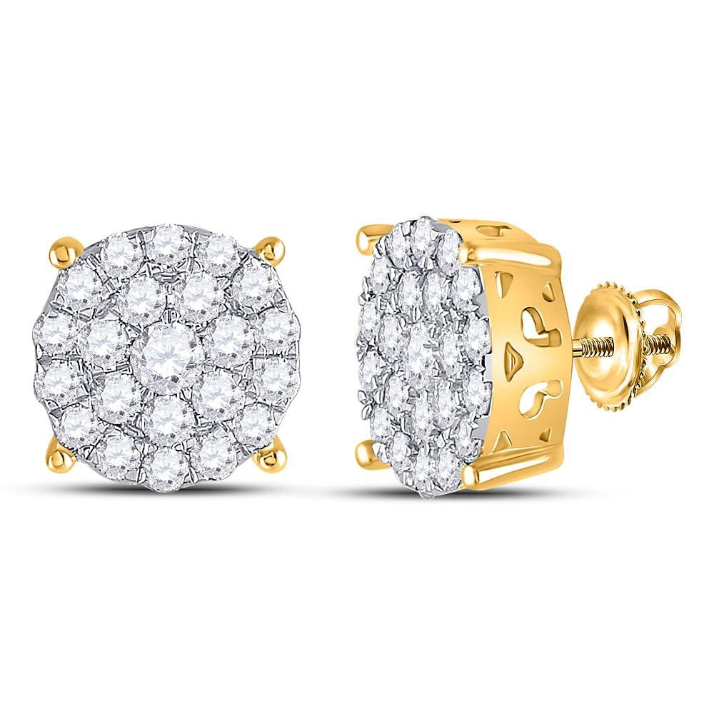 14kt Yellow Gold Womens Round Diamond Concentric Circle Cluster Stud Earrings 2-1/12 Cttw