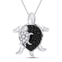 10kt White Gold Womens Round Black Color Enhanced Diamond Turtle Animal Pendant 1/8 Cttw