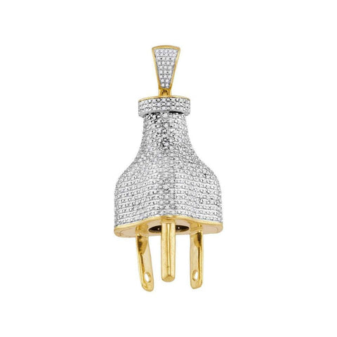 10kt Yellow Gold Mens Round Diamond Power Plug Charm Pendant 1-1/6 Cttw