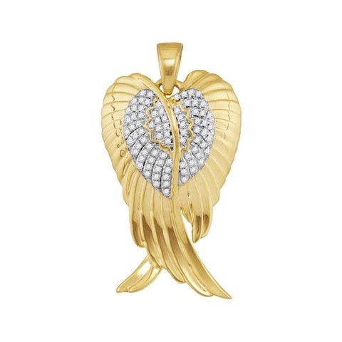 10kt Yellow Gold Mens Round Diamond Angel Wings Charm Pendant 1/3 Cttw