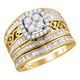 14kt Yellow Gold Womens Round Diamond Cluster Bridal Wedding Engagement Ring Band Set 1-3/8 Cttw