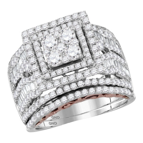 14kt Two-tone Gold Womens Round Diamond Bridal Wedding Engagement Ring Band Set 2-5/8 Cttw