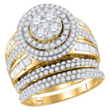 14kt Yellow Gold Womens Round Diamond Cluster Bridal Wedding Engagement Ring Band Set 2-1/2 Cttw