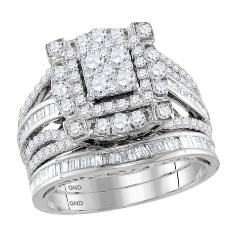 14kt White Gold Womens Round Diamond Cluster Bridal Wedding Engagement Ring Band Set 1-3/4 Cttw