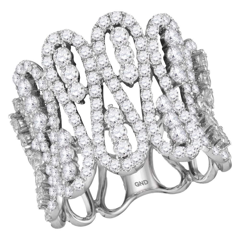 10kt White Gold Womens Round Diamond Fashion Cocktail Band Ring 2-1/2 Cttw