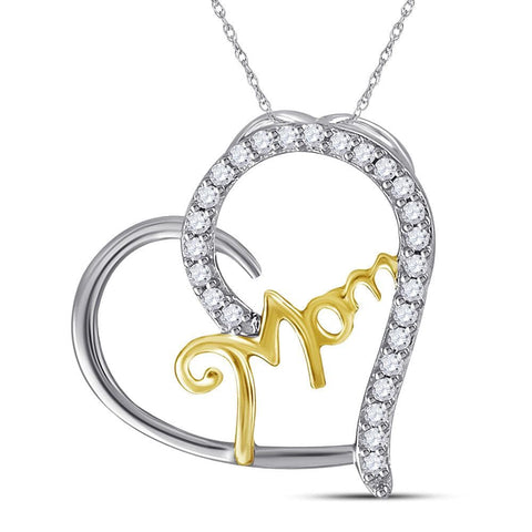 Sterling Silver Two-tone Womens Round Diamond Mom Heart Pendant 1/10 Cttw