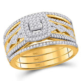 10kt Yellow Gold Round Diamond 3-Piece Bridal Wedding Ring Band Set 1/2 Cttw