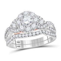 14kt White Gold Womens Round Diamond Bellissimo Bridal Wedding Engagement Ring Band Set 1-1/2 Cttw