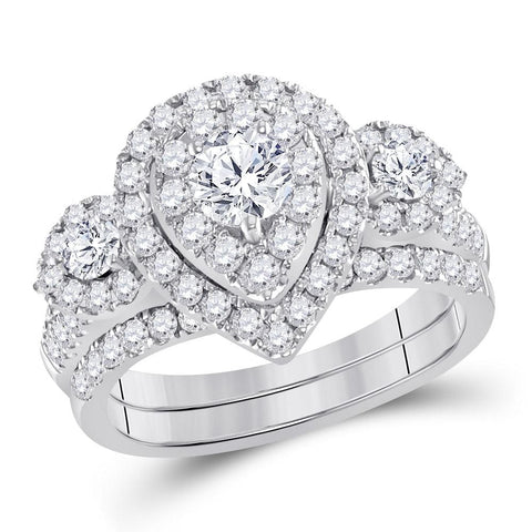 14kt White Gold Womens Round Diamond Teardrop Bridal Wedding Engagement Ring Band Set 1-1/2 Cttw