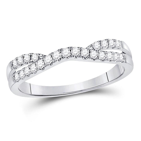 14kt White Gold Womens Round Diamond Ring Contour Enhancer Wedding Band 1/4 Cttw
