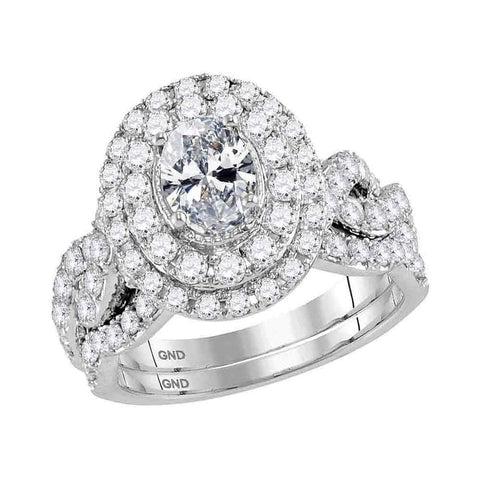 14kt White Gold Womens Oval Diamond Bridal Wedding Engagement Ring Band Set 2.00 Cttw