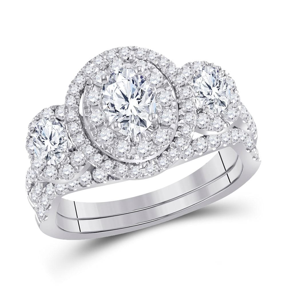 14kt White Gold Oval Diamond Bridal Wedding Ring Band Set 1-1/2 Cttw