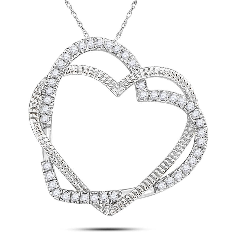10kt White Gold Womens Round Diamond Double Intertwined Heart Pendant 1/8 Cttw