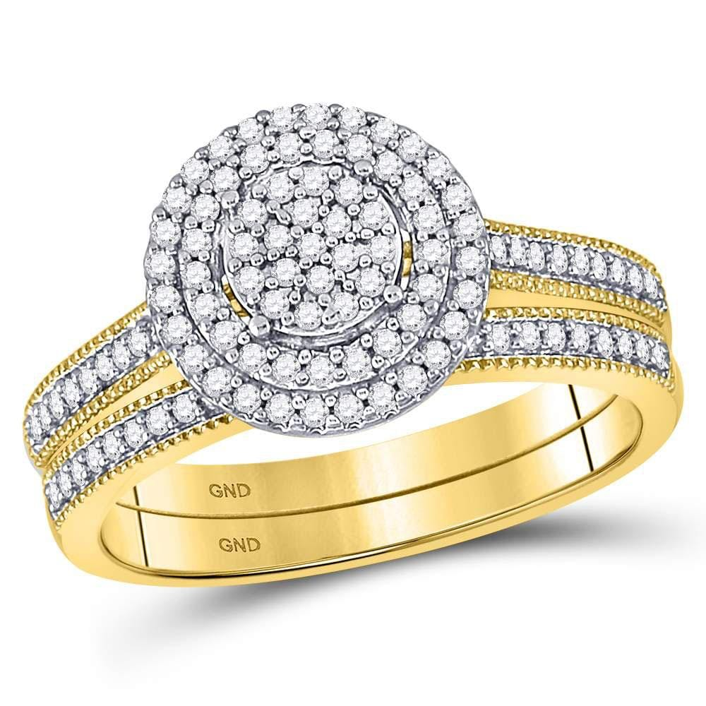 10kt Yellow Gold Round Diamond Cluster Bridal Wedding Ring Band Set 1/3 Cttw