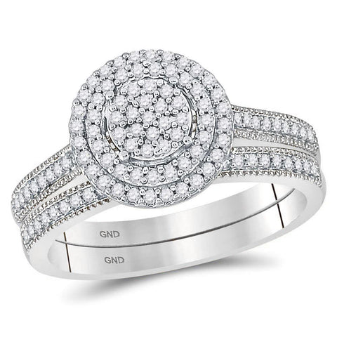 10kt White Gold Round Diamond Cluster Bridal Wedding Ring Band Set 1/3 Cttw