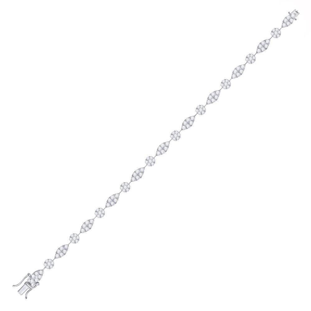 14kt White Gold Womens Round Diamond Link Tennis Bracelet 4 Cttw