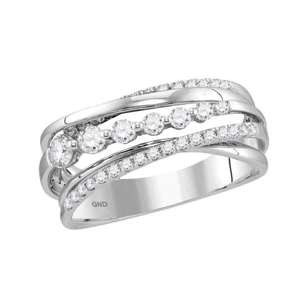 14kt White Gold Womens Round Diamond Band Ring 1/2 Cttw