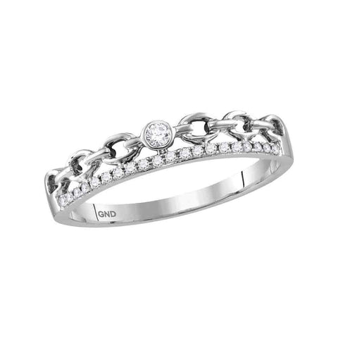 10kt White Gold Womens Round Diamond Rolo Link Stackable Band Ring 1/12 Cttw