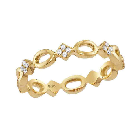 10kt Yellow Gold Womens Round Diamond Square Cluster Stackable Band Ring 1/6 Cttw