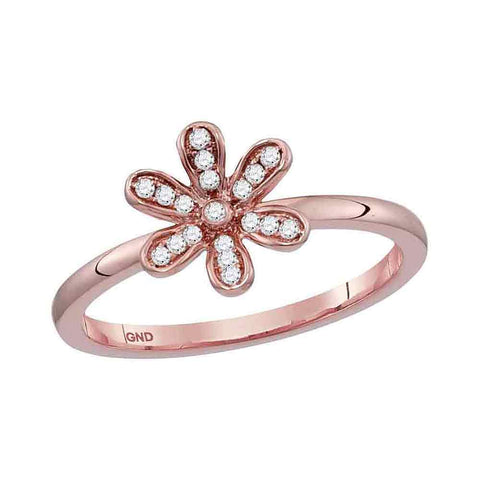 10kt Rose Gold Womens Round Diamond Flower Floral Stackable Band Ring 1/20 Cttw