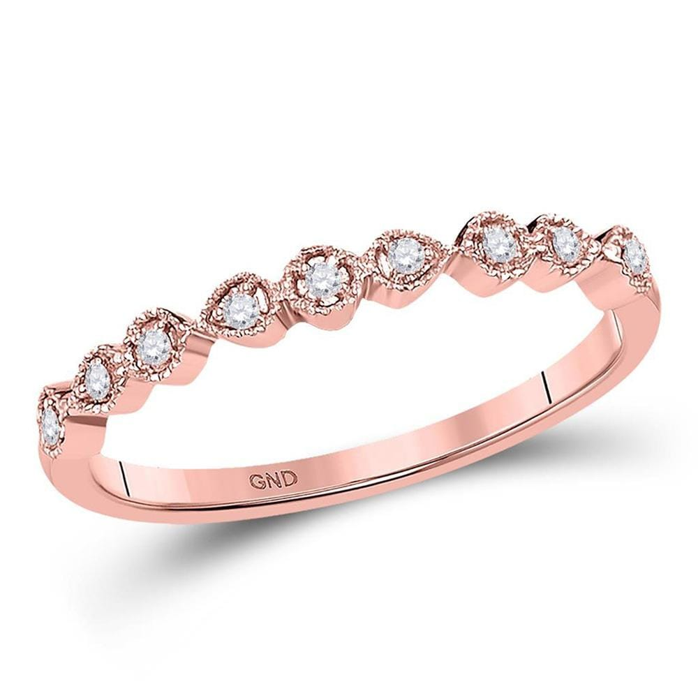 10kt Rose Gold Womens Round Diamond Stackable Band Ring 1/20 Cttw