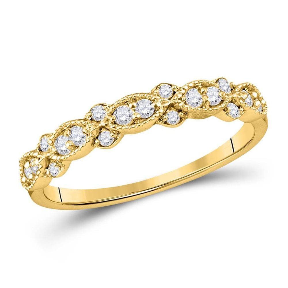 10kt Yellow Gold Womens Round Diamond Stackable Band Ring 1/4 Cttw