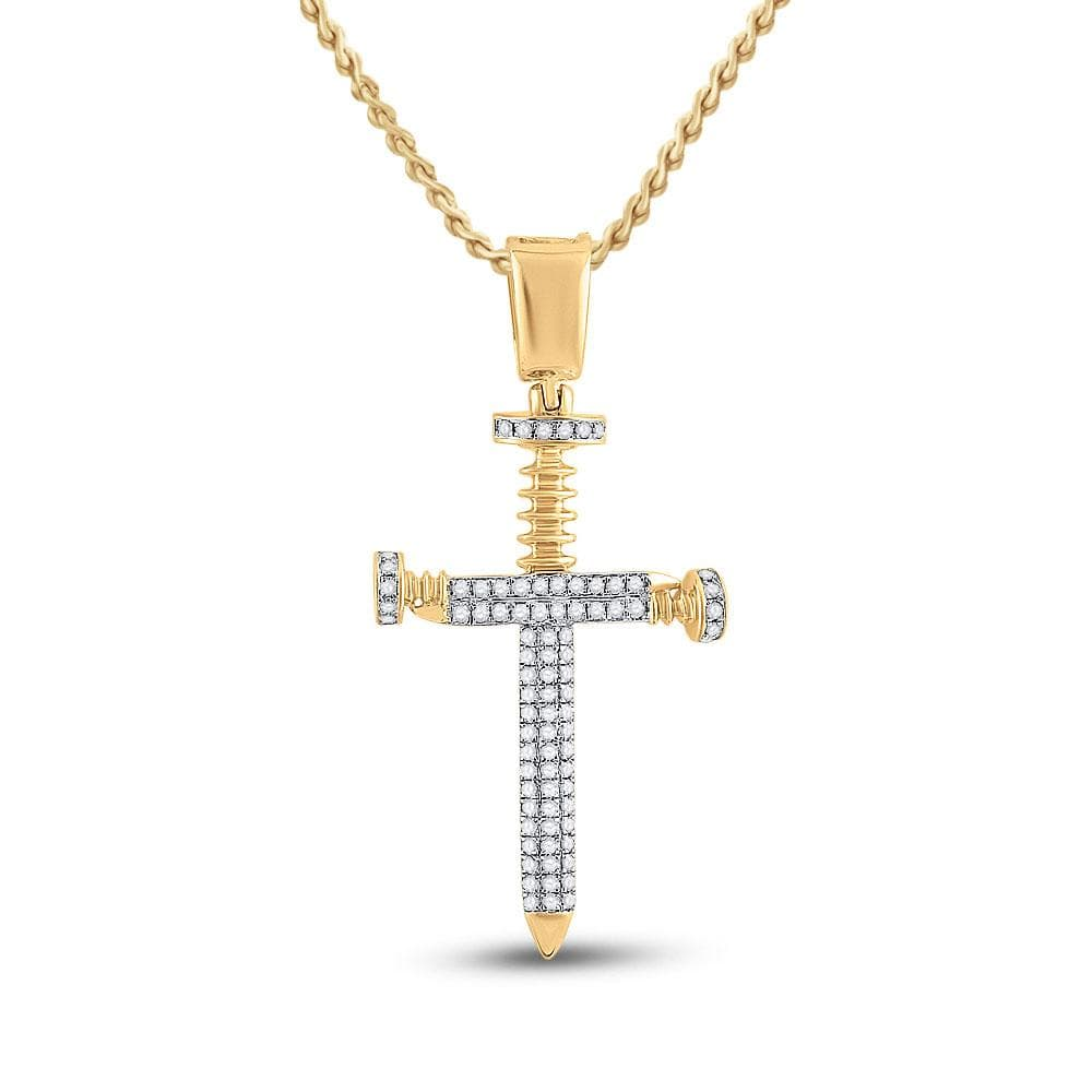10kt Yellow Gold Mens Round Diamond Nail Cross Charm Pendant 3/8 Cttw