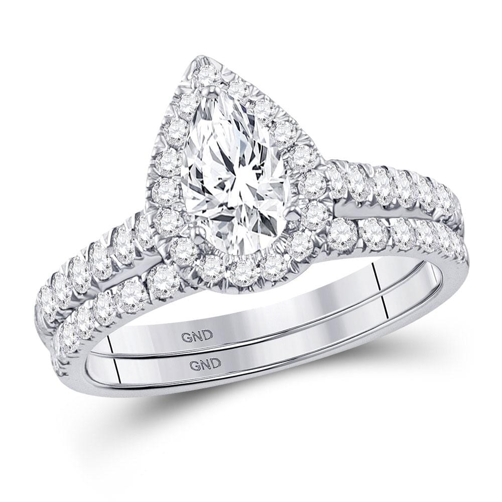14kt White Gold Womens Pear Diamond Bridal Wedding Engagement Ring Band Set 1-1/2 Cttw