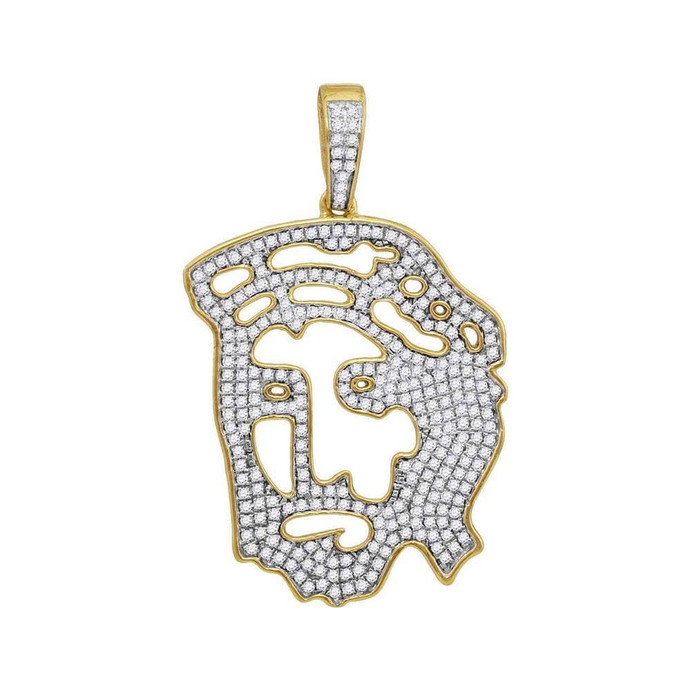 10kt Yellow Gold Mens Round Diamond Jesus Face Charm Pendant 1 Cttw