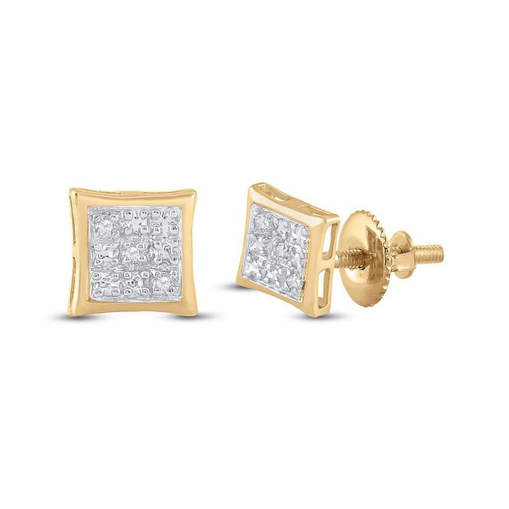 10kt Yellow Gold Womens Round Diamond Square Earrings .01 Cttw