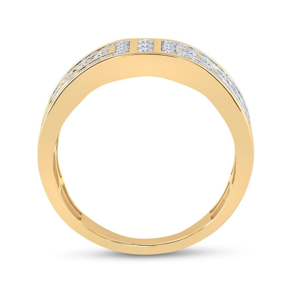 14kt Yellow Gold Mens Round Diamond Symmetrical Wedding Band Ring 1.00 Cttw