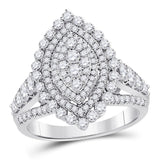 14kt White Gold Round Diamond Cluster Bridal Wedding Engagement Ring 1-3/4 Cttw