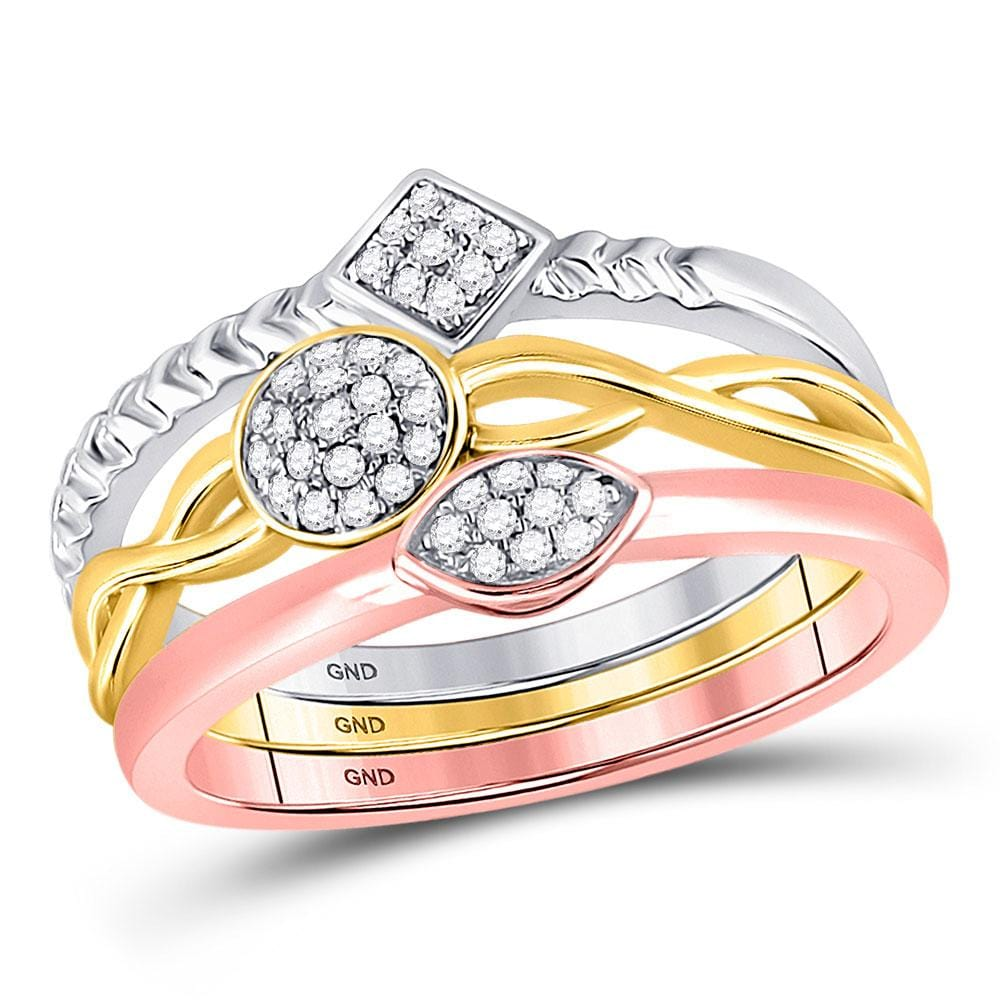 10kt Tri-Tone Gold Womens Round Diamond Stackable Ring 3-Piece Set 1/5 Cttw