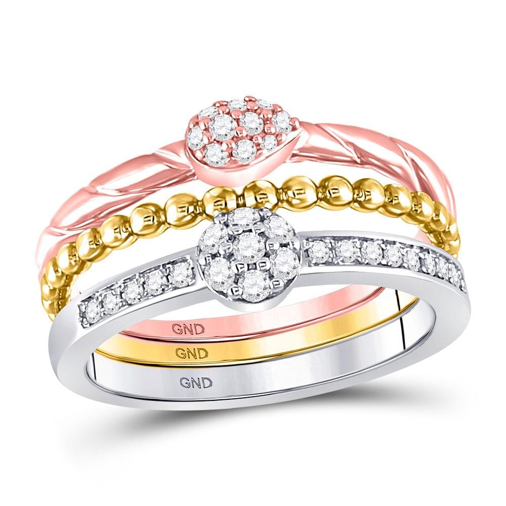 10kt Tri-Tone Gold Womens Round Diamond Trio Stackable Band Ring Set 1/3 Cttw