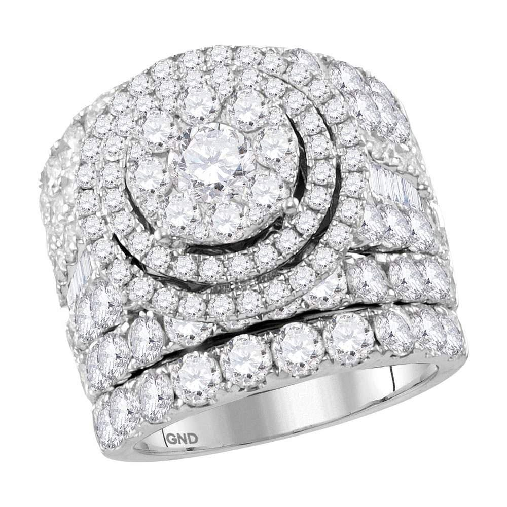 14kt White Gold Womens Round Diamond Cluster Bridal Wedding Engagement Ring Band Set 7.00 Cttw