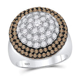 14kt White Gold Womens Round Brown Diamond Cluster Ring 3-1/4 Cttw