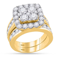 14kt Yellow Gold Womens Round Diamond Square Cluster Bridal Wedding Engagement Ring Band Set 4-1/4 Cttw