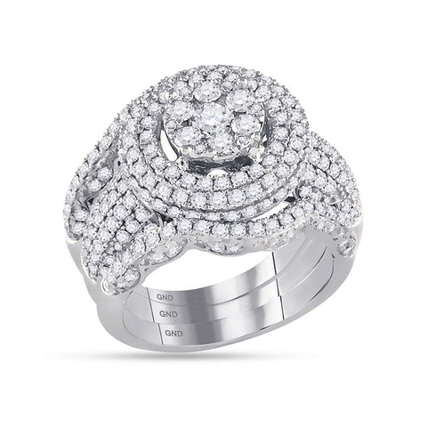 14kt White Gold Womens Round Diamond Cluster Bridal Wedding Engagement Ring Band Set 2-3/8 Cttw