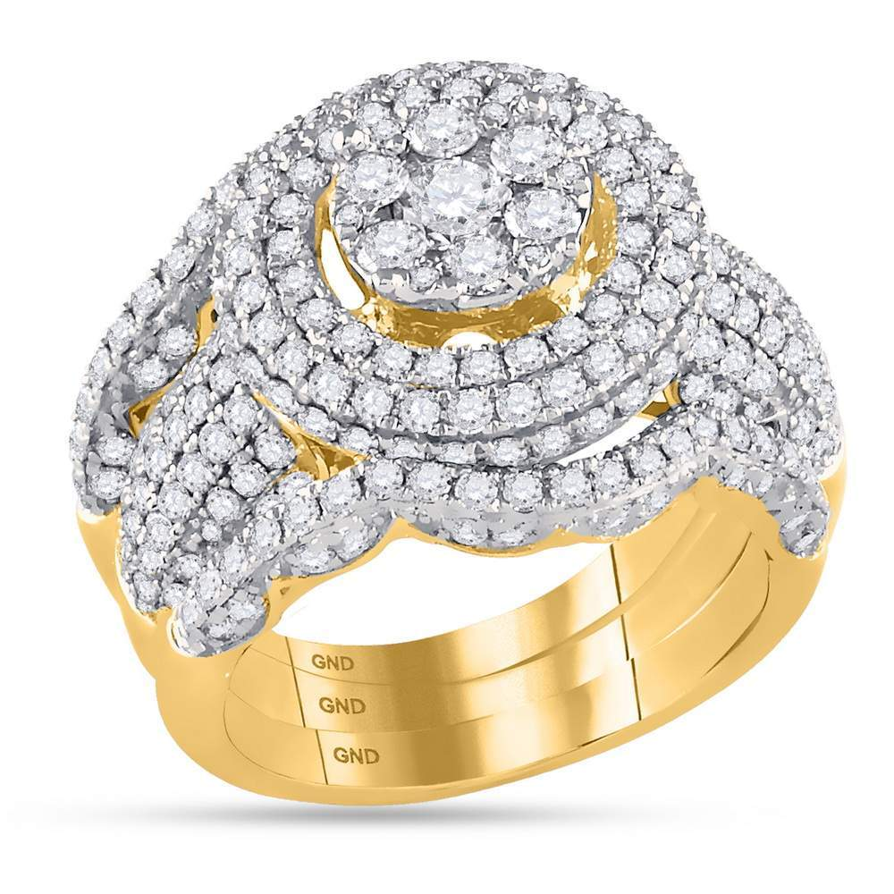 14kt Yellow Gold Womens Round Diamond Cluster Bridal Wedding Engagement Ring Band Set 2-3/8 Cttw