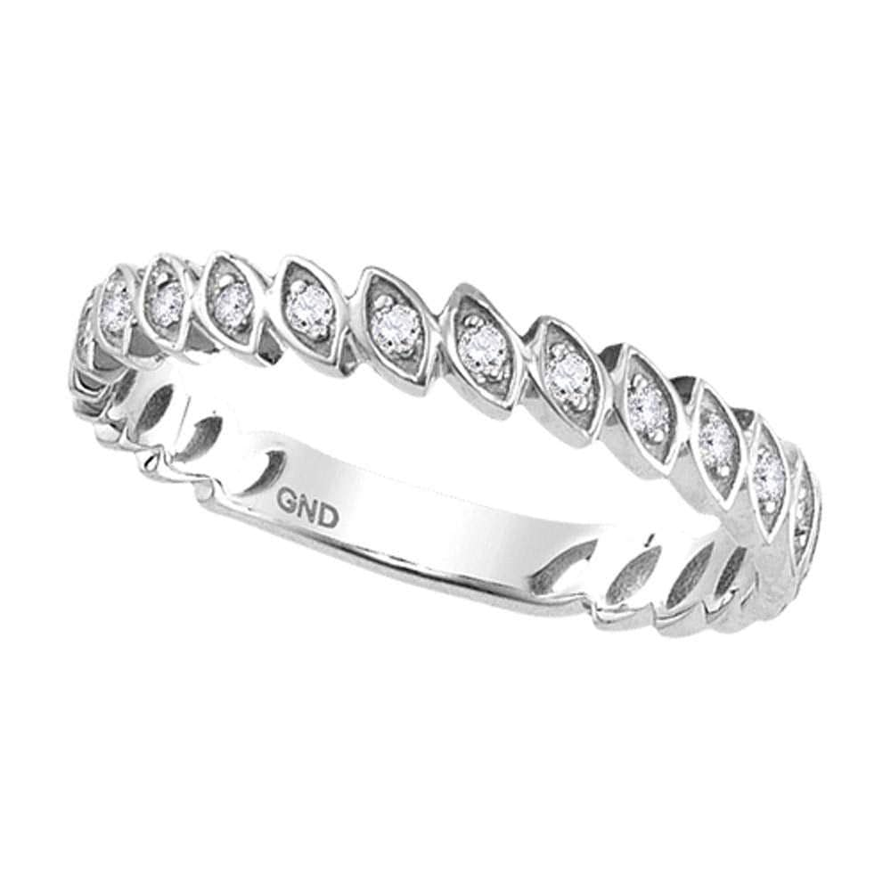 10kt White Gold Womens Round Diamond Marquise Shape Stackable Band Ring 1/10 Cttw