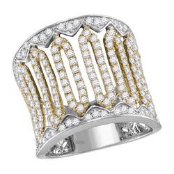 14kt Two-tone White Gold Womens Round Diamond Cocktail Band Ring 1-3/8 Cttw