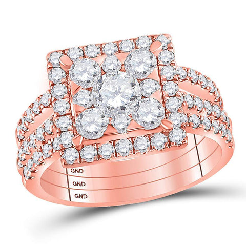 14kt Rose Gold Womens Round Diamond Square 3-Piece Bridal Wedding Engagement Ring Band Set 2.00 Cttw