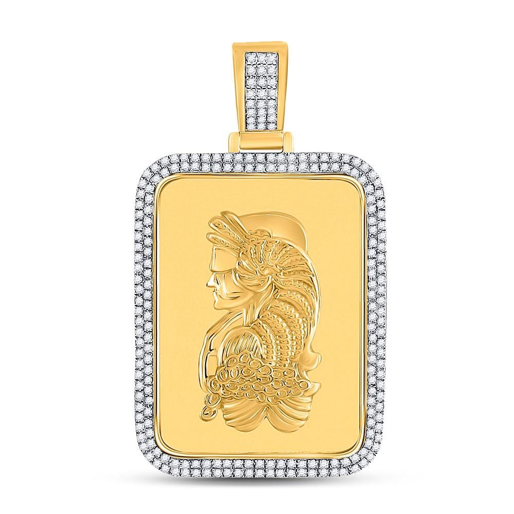 10kt Yellow Gold Mens Round Diamond Dog Tag Charm Pendant 5/8 Cttw