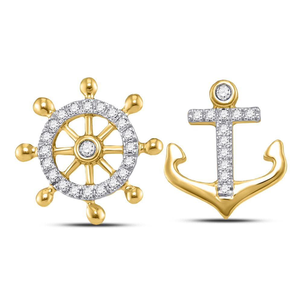10kt Yellow Gold Womens Round Diamond Anchor Wheel Nautical Earrings 1/10 Cttw