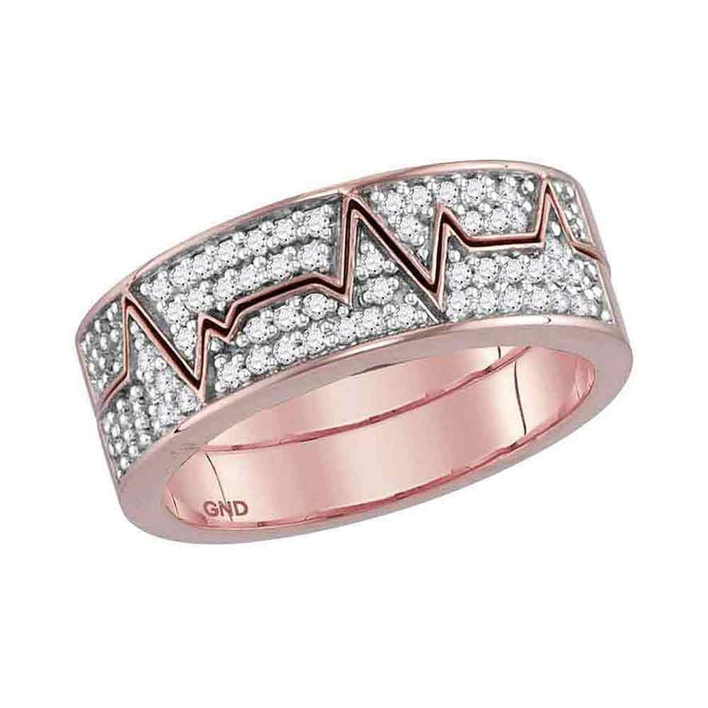 10kt Rose Gold Womens Round Diamond 2-Piece Heartbeat Band Ring 1/3 Cttw